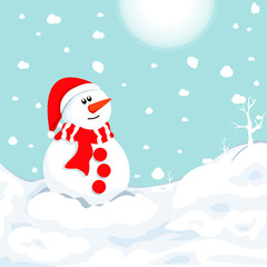 snowman in winter. Christmas symbol.