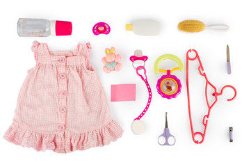 Set for girl baby. On white, isolated background.Top view. Flat lay.
