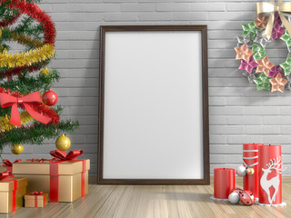 Golden gifts ,Christmas tree ,candle and empty picture frame in living room.3D rendering.