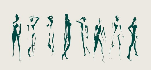Set of sexy women silhouettes. Fashion mannequin. Collection of 8 figures posing