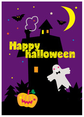 Happy Halloween poster with ghost, house, moon, bats, pumpkin. Vector illustration.