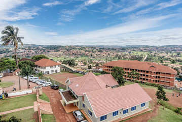 View from the above of the Capital city Kampala in Uganda, Afric