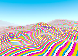 Colorful lines pattern, waves of stripes fading to blue sky