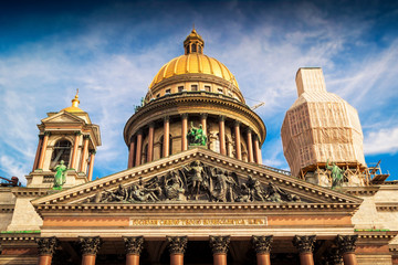 Dome of famous Isaac cathedral in Saint Petersburg, Russia.