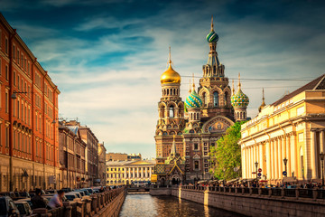View the Church of the Savior on Spilled Blood at sunset in St. Petersburg. Russia.