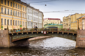 View of canal and bridge in Saint Petersburg, Russia.