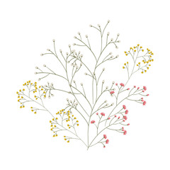 branches with Leaves and flowers icon. Nature floral garden and decoration theme. Isolated design. Vector illustration