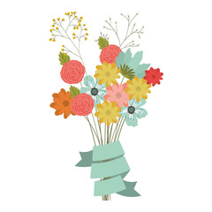 beautiful flowers bouquet.  Nature floral garden and decoration theme. Isolated design. Vector illustration