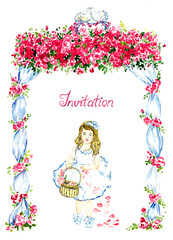 Little girl walking under wedding gazebo decorated with red roses and two kissing pigeons on the top and scattering petals from basket, invitation for wedding, isolated watercolor