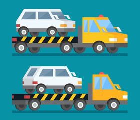 Evacuation car, road assistance service help. Evacuator tow track. Flat design illustration.