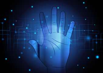 Abstract hand with technology background concept design