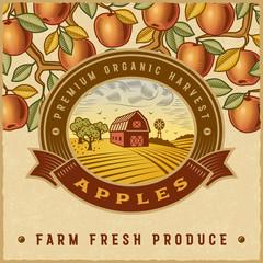 Vintage colorful apple harvest label