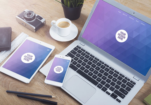 Laptop, Tablet, and Smartphone on Wooden Table with Coffee Cup Mockup 2
