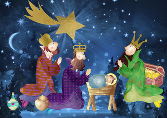 Christmas nativity scene. Card with Child Jesus, three wise men