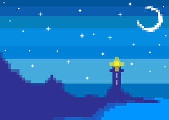 pixel art lighthouse and seashore