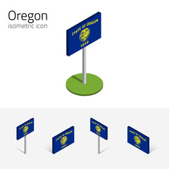 Flag of Oregon (State of Oregon, USA), vector set of isometric flat icons, 3D style, different views. Editable design element for banner, website, presentation, infographic, poster, map, card. Eps 10