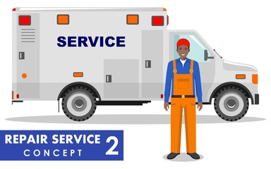 Repair service concept. Detailed illustration of service machine and repairer on white background in flat style. Vector illustration.