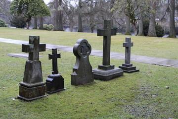 Cemetery Graveyard Stone Crosses