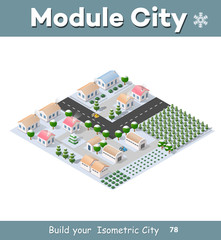 Isometric module of the modern 3D city. Winter landscape snowy trees, streets. Three-dimensional views of houses, buildings and urban areas with transport roads, intersections