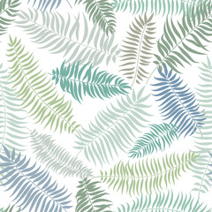 Abstract floral pattern Palm tree leaves swirl  seamless texture. Stylish summer nature background