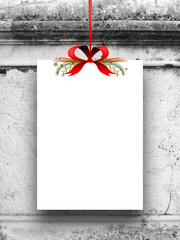 Single blank frame hanged by red ribbon against gray old concrete wall background