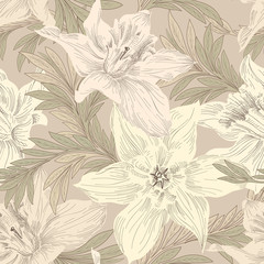 Floral seamless pattern. Flower doodle background. Floral engraved texture. Flourish wallpaper