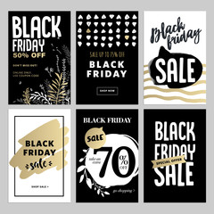 Set of mobile sale banners. Black Friday sale banners. Vector illustrations of online shopping website and mobile website banners, posters, newsletter designs, ads, coupons, social media banners.