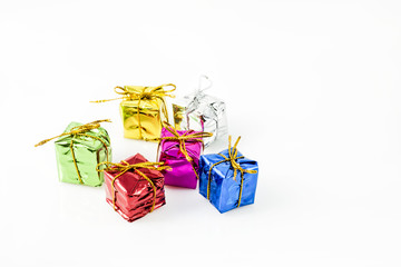 mini gifts on white background