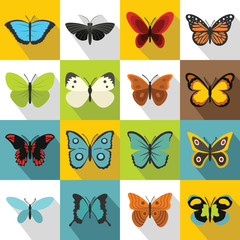Butterfly icons set. Flat illustration of 16 butterfly vector icons for web