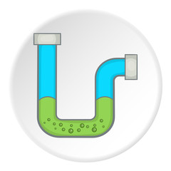Clog in the pipe icon. Cartoon illustration of clog in the pipe vector icon for web