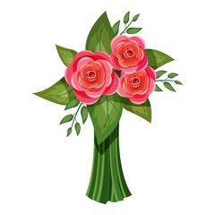 Pink roses bouquet icon. Isometric 3d illustration of pink roses bouquet vector icon for web