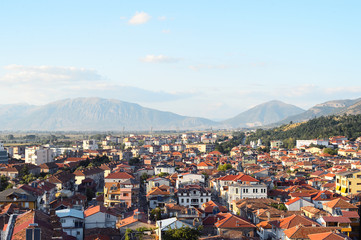 Aerial view to small town Korca, situated in south-east of Albania.