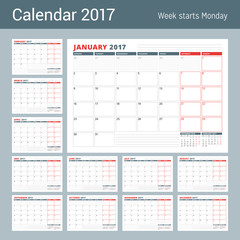 Calendar Planner Template for 2017 Year. Set of 12 Months. Business Planner Template. Stationery Design. Week starts Monday. Vector Illustration