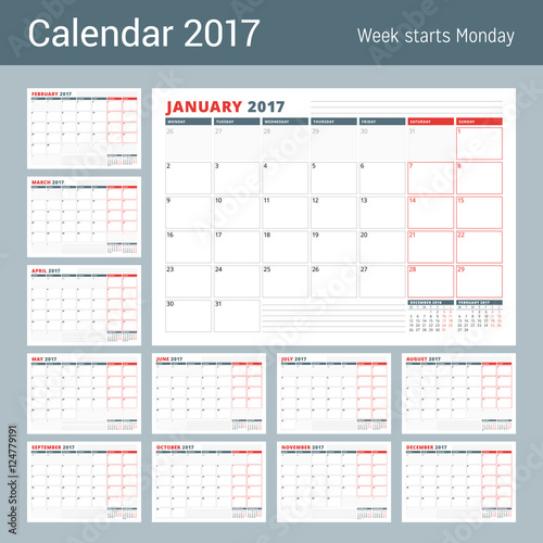 calendar planner template for 2017 year set of 12 months business