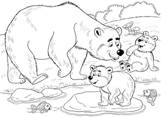 At the zoo. Cute forest animals. A family of cute bears. Mother bear and he babies looking for fish. Illustration for children. Coloring book. Coloring page. Funny cartoon characters.
