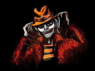 Misty stranger on halloween/Ghosty halloween character on black background - vector illustration
