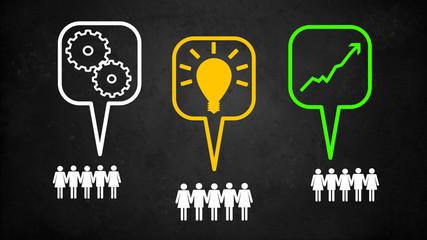 Mitarbeiter mit Sprechblasen Innovation
