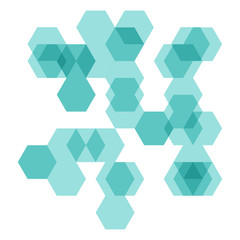 turquoise abstract geometrical pattern with overlayed hexagon co
