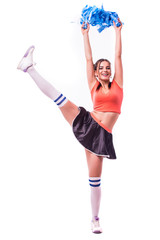Cheerleader: Cute Woman Cheering With Poms In The Air dance
