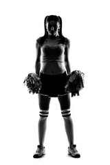 Sihlouette of cheerleader on white background