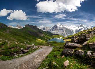 Swiss beauty, Schreckhorn and Wetterhorn mounts from path above Bachalpsee lake