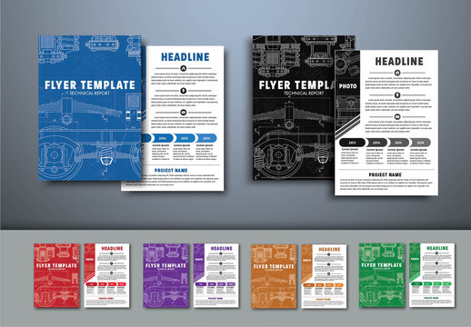 6 Technical Blueprint Flyer Layouts