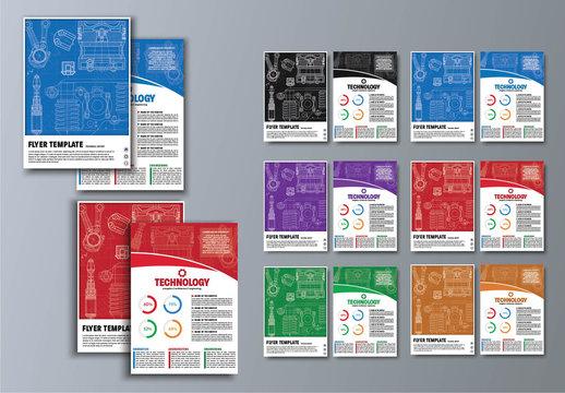 6 Technical Blueprint Flyer Layouts