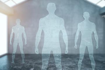 Three glass male figures