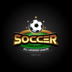 Golden Soccer logo. Soccer football badge logo design template, sport logotype template. Soccer Themed T shirt. Football logo. Isolated Vector illustration.