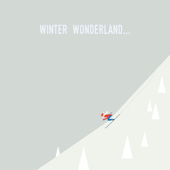 Skiing poster illustration vector. Downhill skier going down the slope at speed. Flat design cartoon.
