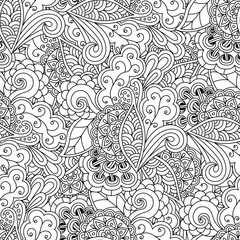 Seamless vector floral pattern doodle hand-drawn. Black-and-white abstract background for coloring.