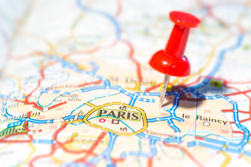 Pin indicates the destination on the road map - Paris (F)