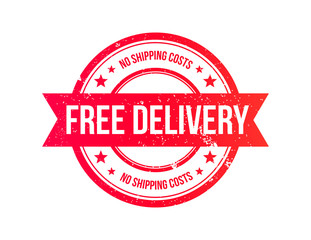 Free Delivery Grunge Ribbon Stamp