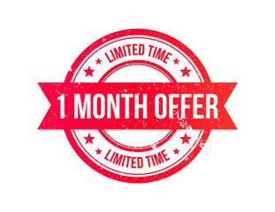 1 Month Offer Grunge Ribbon Stamp